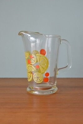 Vintage Retro juice jug Pitcher carafe  lemon  yellow orange