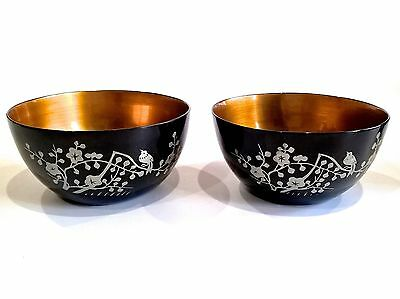 Japanese Lacquer Ware Soup Rice Bowls Floral Blossom Goldfish - Pair