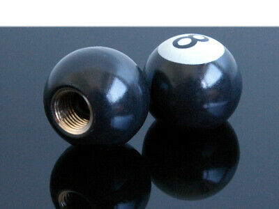 "2 ""8-Ball""-Ventilkappen valve caps hot-rod style eightball"