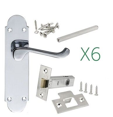 6 Sets of Epsom Internal Polished chrome door handle Latch included 63mm or 76mm