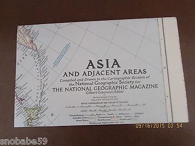 National Geographic March 1951 MAP of ASIA and Adjacent Areas (Soviet , China)