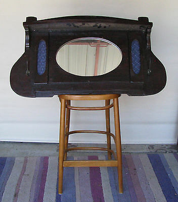 Vintage Antique Solid Timber Bar Mirror Wall Mount