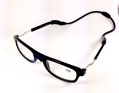High Quality Stylish Loopies Magnetic Reading Glasses Black Unisex Case & Cloth