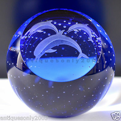 Large CAITHNESS DAUPHINS Scottish Art Glass Deep Blue Paperweight SIGNED #1467