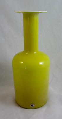 Yellow & Opal Encased Otto Brauer Holmegaard Carnaby Gul Vase 30cms with Label