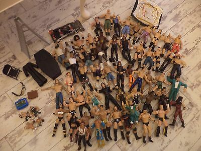 large bundle of genuine wwe wrestling figures and accessories