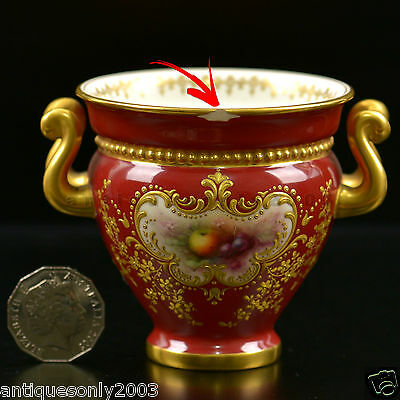 RARE ROYAL WORCESTER Fruit Hand Painted Twin HANDLED Urn Vase by CHIVERS SIGNED