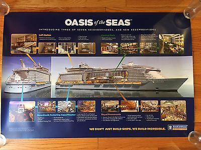 Rare large EARLY POSTER Royal Caribbean OASIS OF THE SEAS Pre-inaugural 2008