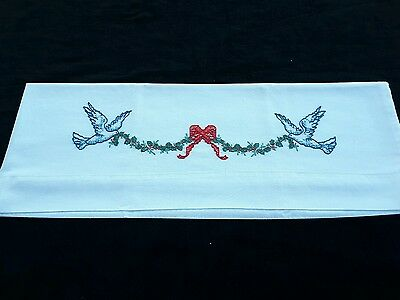 Vintage Embroidered Pillowcase Christmas Holly Ribbon Birds Linens