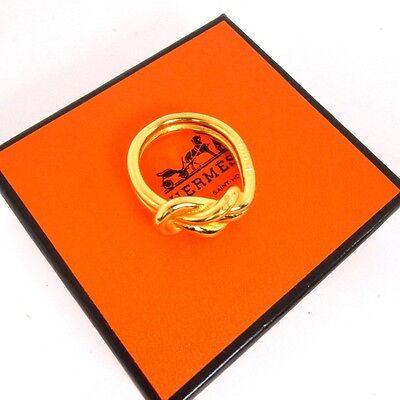 AUTHENTIC HERMES Scarf Ring Knot Gold With Box
