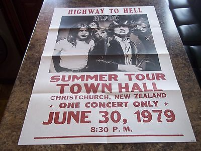 Acdc Highway To Hell 1979 New Zealand Large Tour Poster
