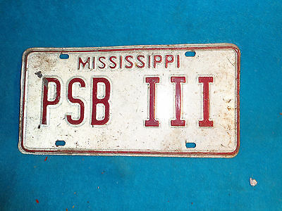 MISSISSIPPI License Plate Auto Tag  Personalized PSB III HELP WHO IS IT? SEE AD