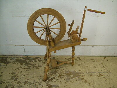 "Antique Wooden LARGE Spinning Wheel with 19"" Diameter Wheel"