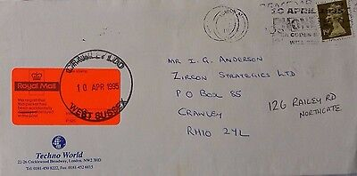 Great Britain 1995 Cover With Crawley Royal Mail Delayed In The Post Label