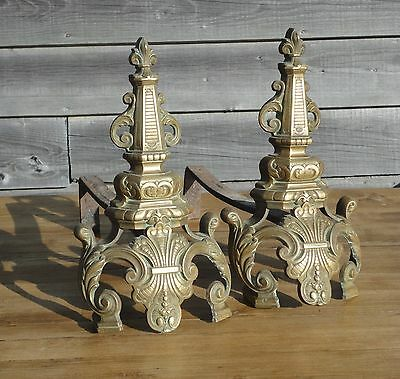Stunning Pair Of Antique Brass French Fire Dog Andirons