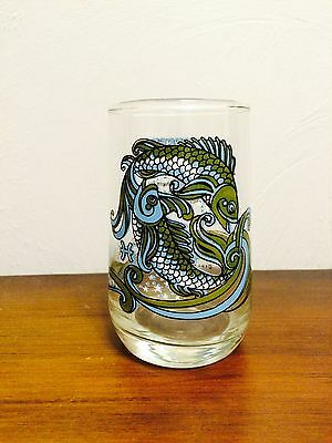 Vintage Pisces Fish Zodiac Arby's Drinking Glass Tumbler