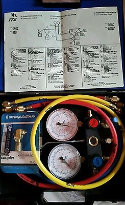 A/c Refrigerant Gauges (R22) Brand New + 2 Extra Kwik Couplers
