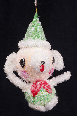 Vtg 50's Commodore Sugar Frosted Iced Pig Bear Christmas Ornament Japan