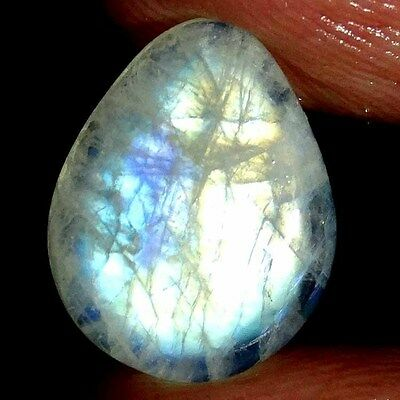 8.30Cts 100% NATURAL CHATOYANT RAINBOW MOONSTONE PEAR CABOCHON TOP GEMSTONES