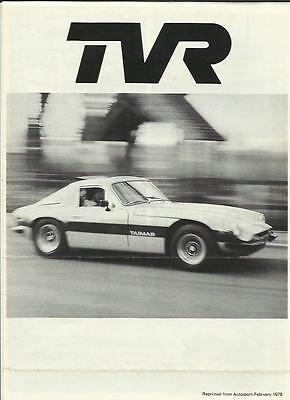 Tvr Taimar 2 Seater Coupe Autosport Road Test 'sales Brochure' 1978