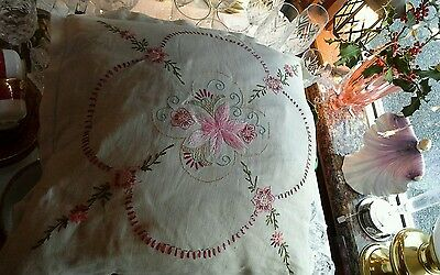 True vintage feather filled hand embroidered linen cushion