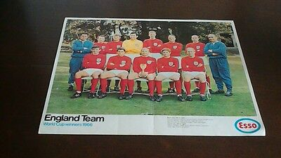 Vintage Esso fuel football poster England team World Cup winners 1966