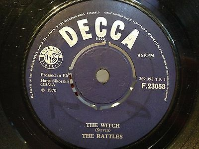 "THE RATTLES rare Irish Press 45 7"" single THE WITCH Rock Psychedelic vinyl DECCA"