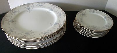 Seville 5303 China Dalton Imperial Dinner Bread Salad Plates Dishes Blue Roses 6