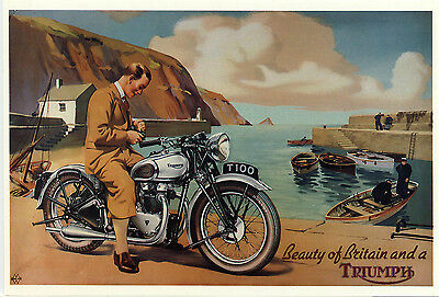 Mayfair Postcards.(672) ~ Triumph T100.~ The Beauty Of Britain And A Triumph.