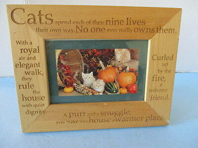 "Frame, Picture, Wooden Cats & Sayings, 7 1/4"" X 9 1/4"", Holds Photo 6"" Or 4"", Vg"