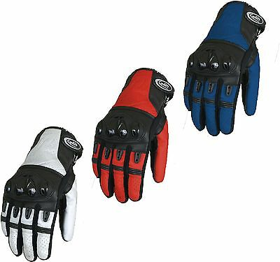 Motorcycle Motorbike Short Leather Knuckle Protection Gloves