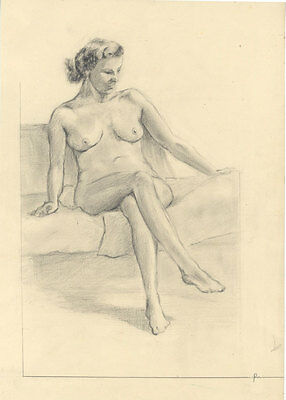 Geoffrey Richard Mortimer - Mid 20th Century Graphite Drawing, Seated Nude