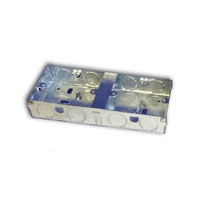 35mm Deep 2x1 Dual Gang Flush Box Metal/Galvanised (10207) DB135