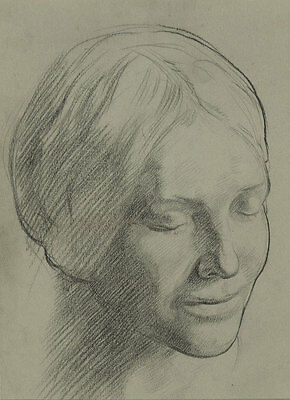 Excellent Mid 20th Century Charcoal Drawing - Study of a Woman