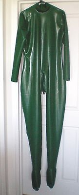 Men's Vibrant Green Rubber Latex Catsuit With Back Zip - New - Size M