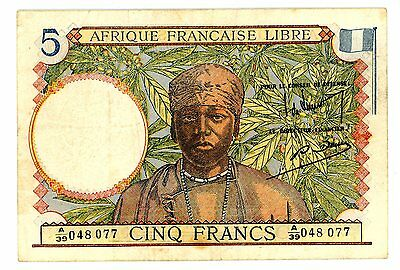 French Equatorial Africa … P-6 … 5 Francs … ND(1941) … *VF*