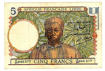 French West Africa … P-26 … 5 Francs … ND(1941) … *VF*