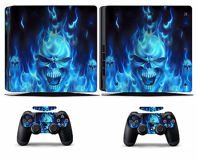 Blue Fire 256 Vinly Skin Sticker Cover for Sony PS4 Slim PlayStation 4 SLIM