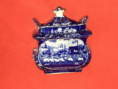 Historical Staffordshire Dark Blue Sugar Bowl Landing Of Lafayette Ca. 1825