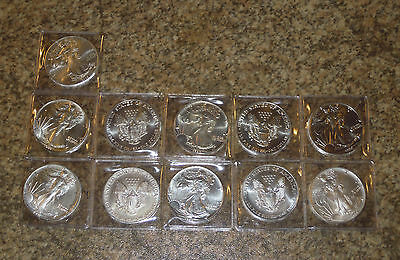 11 American Eagles 1986-1995 + 2009 TOP Zustand USA 1 Dollar $ Silver Eagle
