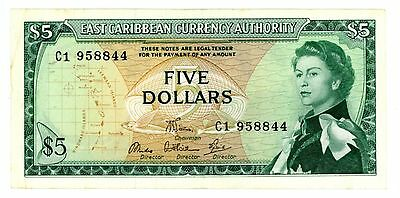 East Caribbean States ... P-14 ... 5 Dollars ... ND(1965) ... *VF+*