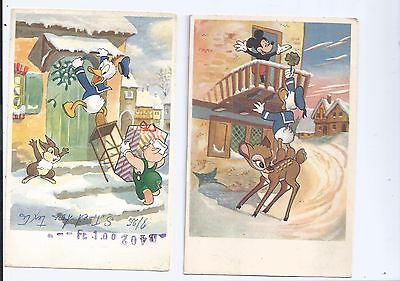 Vintage  1956 2 Christmas  postcards Donald + Mickey plus Unmailed