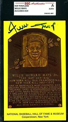 Willie Mays Sgc Authenticated Signed Gold Hof Plaque Autograph