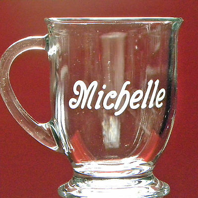 2 - Personalized Coffee Tea Soup Mug Lrg 16oz Engraved Glass Gift Name Nickname