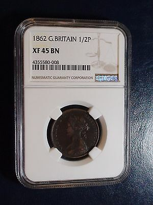 1862 Great Britain Half Penny NGC XF45 BN 1/2p Coin BUY IT NOW!