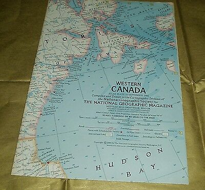 Vintage National Geographic Society Map WESTERN CANADA 1966