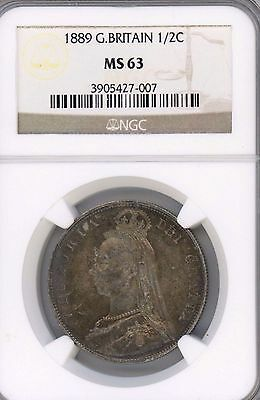 1889 Great Britain 1/2 Crown GRADED BY NGC MS 63 W/ SOME TONING KM# 764 VICTORIA