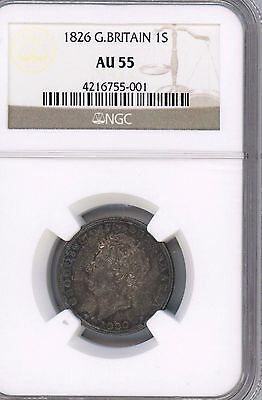 1826 Great Britain Shilling GRADED BY NGC AU55 WITH SOME TONING GEORGE lV KM#694
