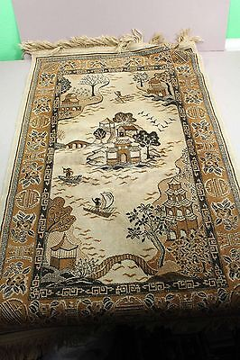 """Wool Asian Style 26 1/2"""" x 44"""" Rug Wall Tapestry Unknown No Tag Tight Weave"""
