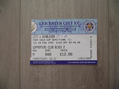 1997 Leicester City v Wimbledon -  League Cup Semi-Final - used ticket stub